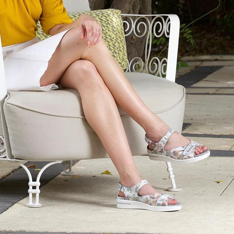 woman wearing orthopedic shoes