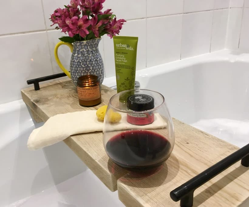 bath caddy with wine