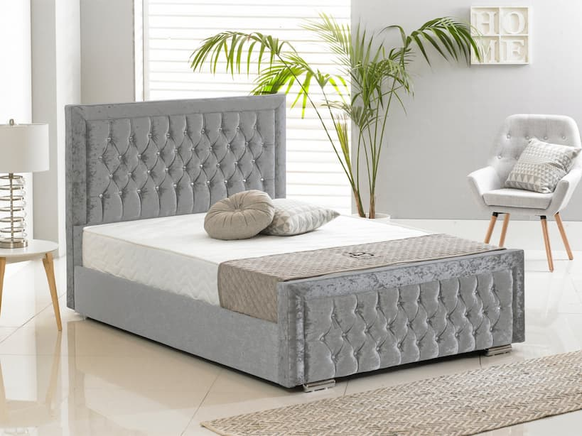bed fram crushed silver